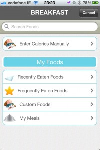 Searching for Food to track using the LiveStrong app on iPhone