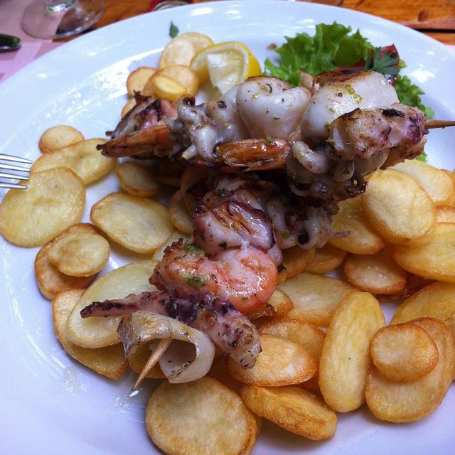 Seafood brochettes in Restoran Porto, Budva, Montenegro