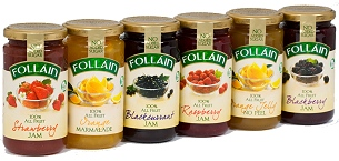 follain make a range of 100% fruit no added sugar jams and preserves