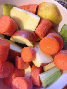 Fruit and vegetables chopped up for juicing