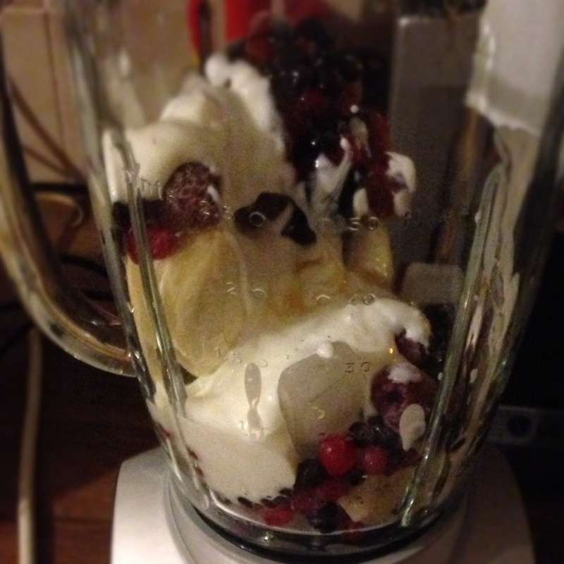 Fruit and other ingredients in the blender to prepare a smoothie