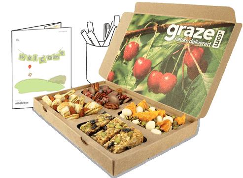 Graze offers a weekly, bi-weekly, or monthly sampling box of 8 little pre-packaged healthy snacks.
