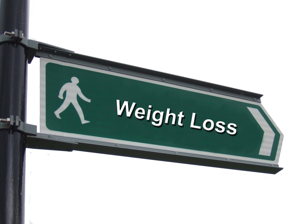 "A street sign with a ""Weight Loss"" theme"