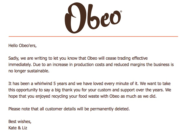Obeo email from June 2018